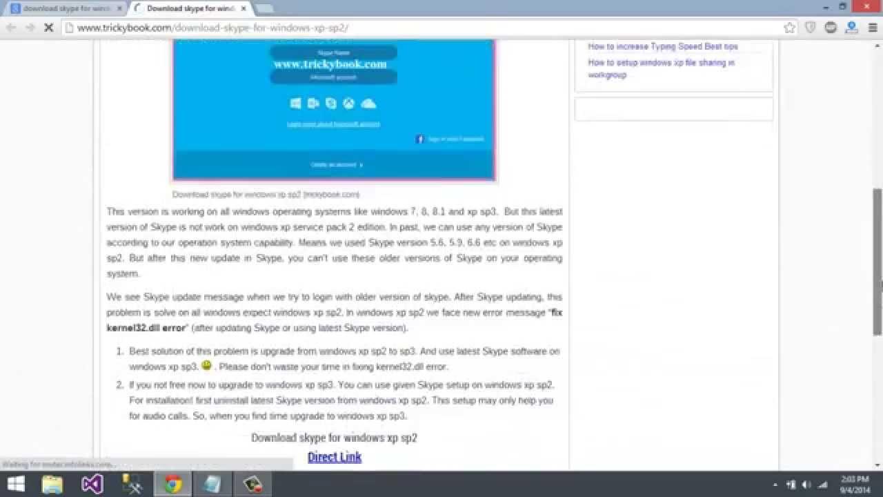 Skype for windows xp sp2 - kernel32 dll skype revolved
