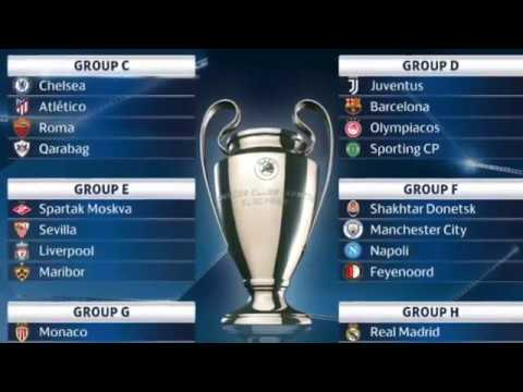 UEFA Champions League 2017/18 full group stage draw