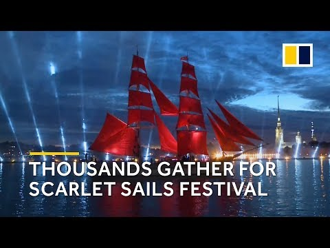 Thousands gather for Scarlet Sails Festival in St. Petersburg, Russia