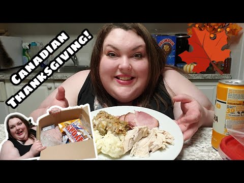 VLOGTOBER DAY DAY 12| CANADIAN THANKSGIVING MUKBANG AND HUGE UNBOXING OF AMERICAN TREATS!!!