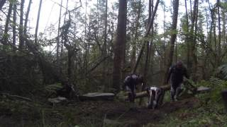 ktm riders helping honda crf up a hill