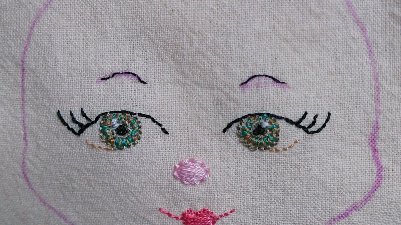 How To Embroider A Face For A Fabric Doll Diy Crafts Tutorial