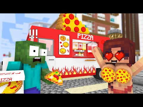 Monster School: WORK AT THE PIZZA TRUCK! – Minecraft Animation