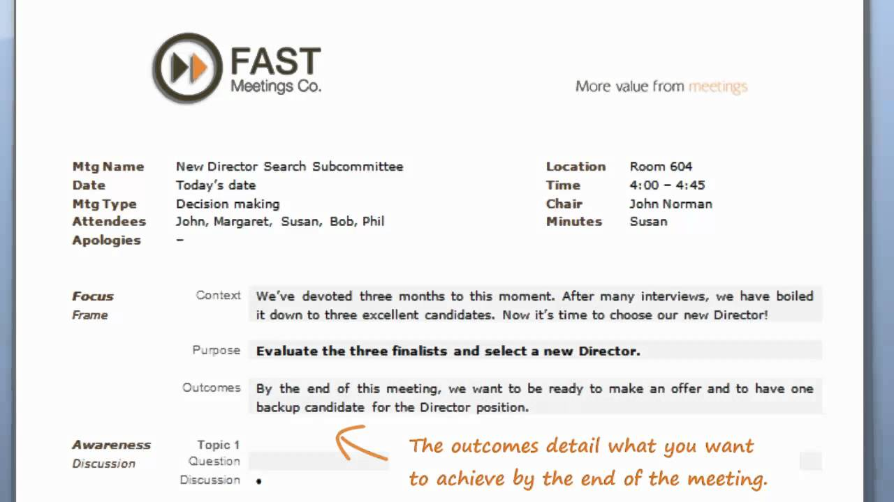 FAST Meetings Worlds Best Agenda Template Instructional Video – Meeting Agenda Format