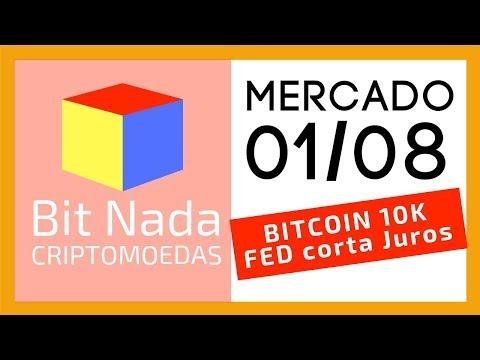 Mercado De Cripto! 01/08 Bitcoin 10.000 USD / FED Corta Juros. E O Bitcoin?