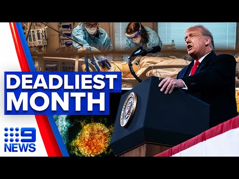 Coronavirus: Trump signs relief bill amid deadliest month | 9 News Australia thumbnail