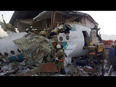 video: Kazakhstan plane crash: Twelve people killed after Bek Air flight carrying 98 passengers and crew crashes in Almaty