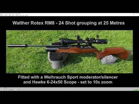 Walther Rotex RM8 - 24 shot grouping at 25 Metres