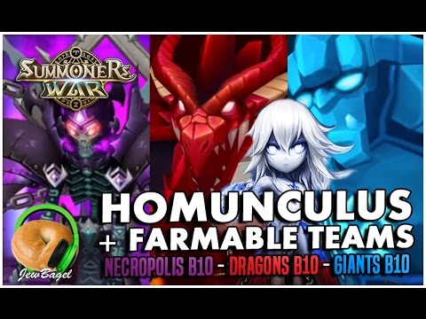 SUMMONERS WAR : Homunculus + Farmable/Fusable Monsters - Dragons B10,  Giants B10, Necropolis B10
