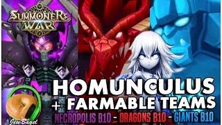 summoners war homunculus farmable fusable monsters dragons b10 giants b10 necropolis b10