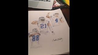 Dallas Cowboys Triplets Drawing