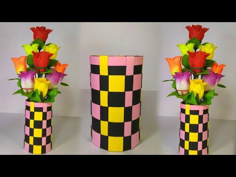Flower vase craft ideas // Flower Vase Making with paper // Flower Vase Decorations Ideas