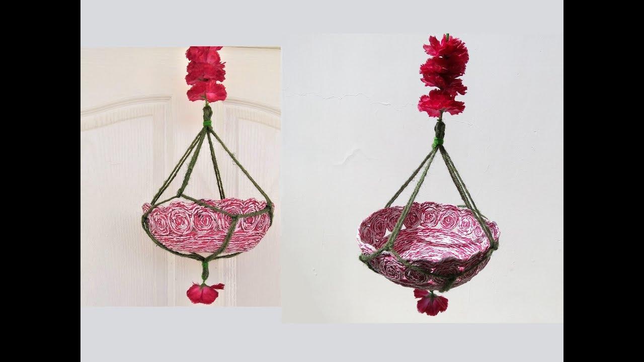 DIY Easy Jute Rope Pot Hanger | How to make Plant Hanger | Flower Pot Hanger | Newspaper Craft & DIY Easy Jute Rope Pot Hanger | How to make Plant Hanger | Flower ...