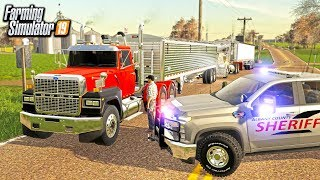 POLICE TRAFFIC STOP! $150 TICKETS FOR ILLEGAL LOAD (ROLEPLAY) | FARMING SIMULATOR 2019