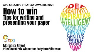 Tips for Writing your APG Awards Paper (with Margaux Revol)