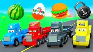 New Cars Cartoon for Kids Super Strong Truck Cup, Mack Truck Color Haulers w/ Fruits & Surpize Eggs