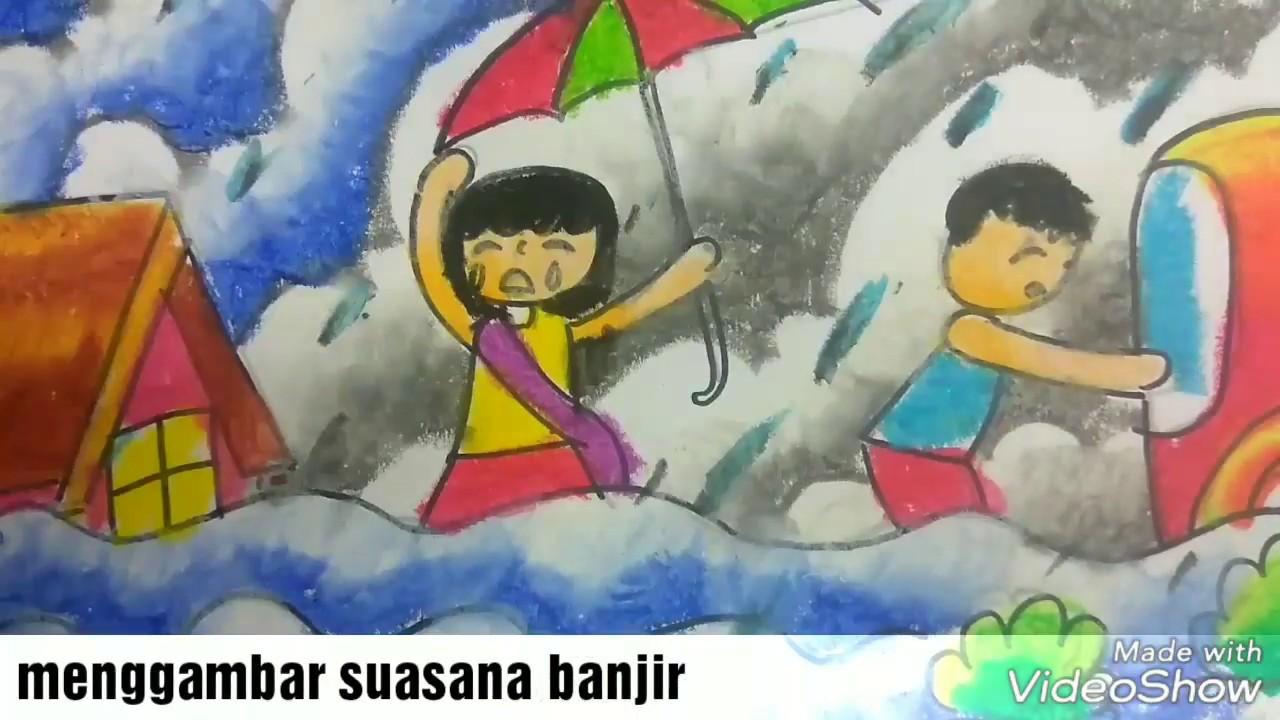 Cara menggambar tema bencana banjir dan mewarnai gradasi dengan crayon