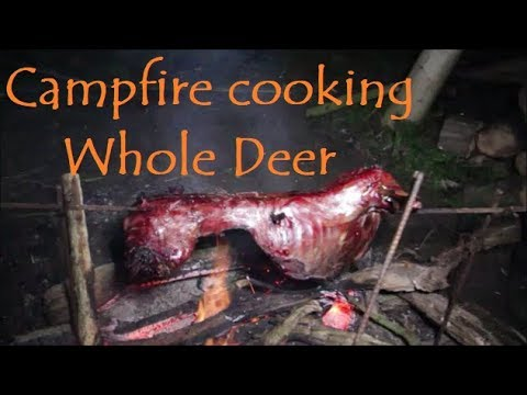 Bushcraft Campfire Cooking a whole Deer