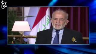 """وزير الخارجية العراقي ابراهيم الجعفري يهاجم """"قناة الجزيرة"""" خلال لقاء له في احد برامجها ."""