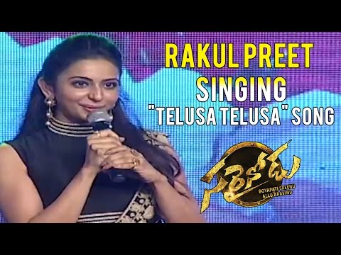 "Rakul Preet Singing ""Telusa Telusa"" Song from Sarrainodu Movie - Sarrainodu Success Meet"
