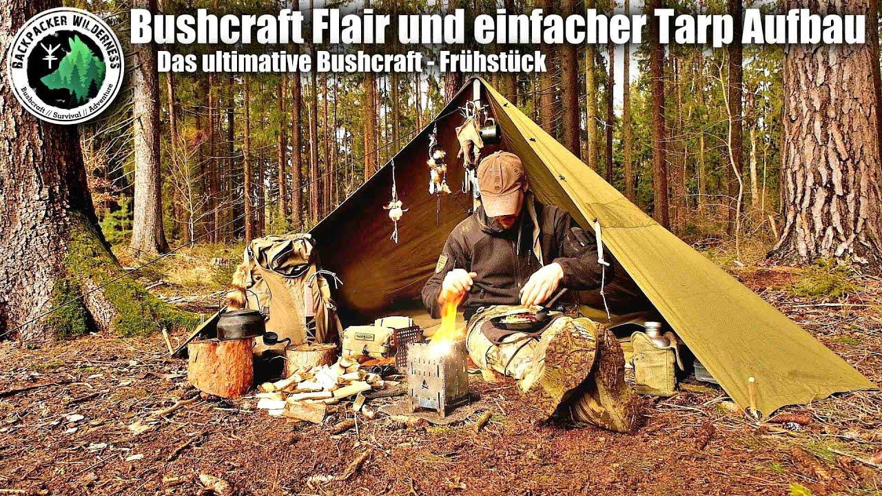 Günstige Zeltbahnen richtig aufbauen und kochen auf der Bushbox - Bushcraft vom Feinsten -