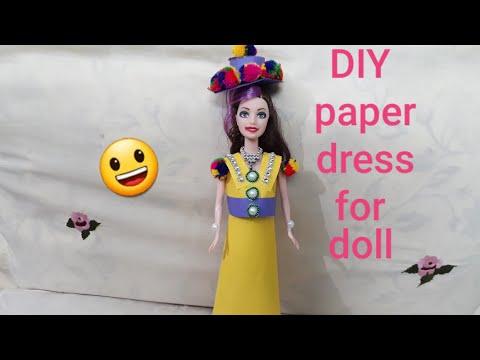 DIY paper dress for barbie doll   DIY new year paper dress for barbie doll   question bank