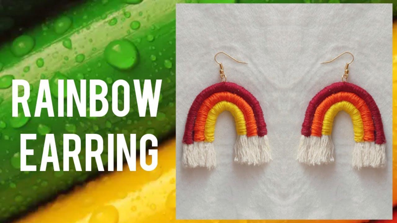 Rainbow Earrings Macrame Rainbow Earrings
