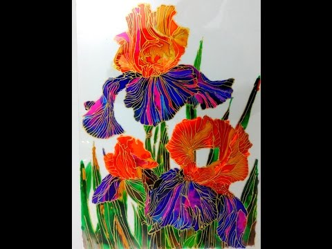 GLASS PAINTING OF ORCHID FLOWER