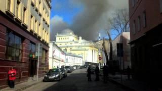 Пожар 5.05.2017 на Большом Спасоглинищевском переулке в Москве