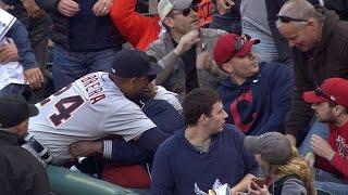 Cabrera hugs a fan sitting near first base