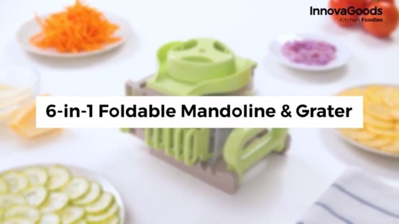 InnovaGoods Mandoline R/âpe Pliable 6 en 1 Choppie Vert et Gris 14,5 x 14 x 16 cm