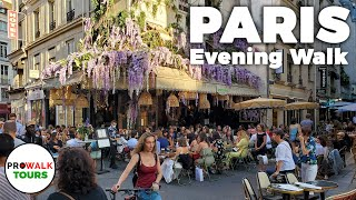 Paris Evening Walk and Bike Ride - 4K - With Captions!