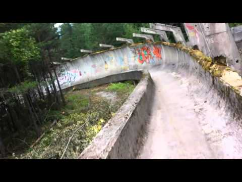 Cycling down the 1984 Sarajevo bobsled course.
