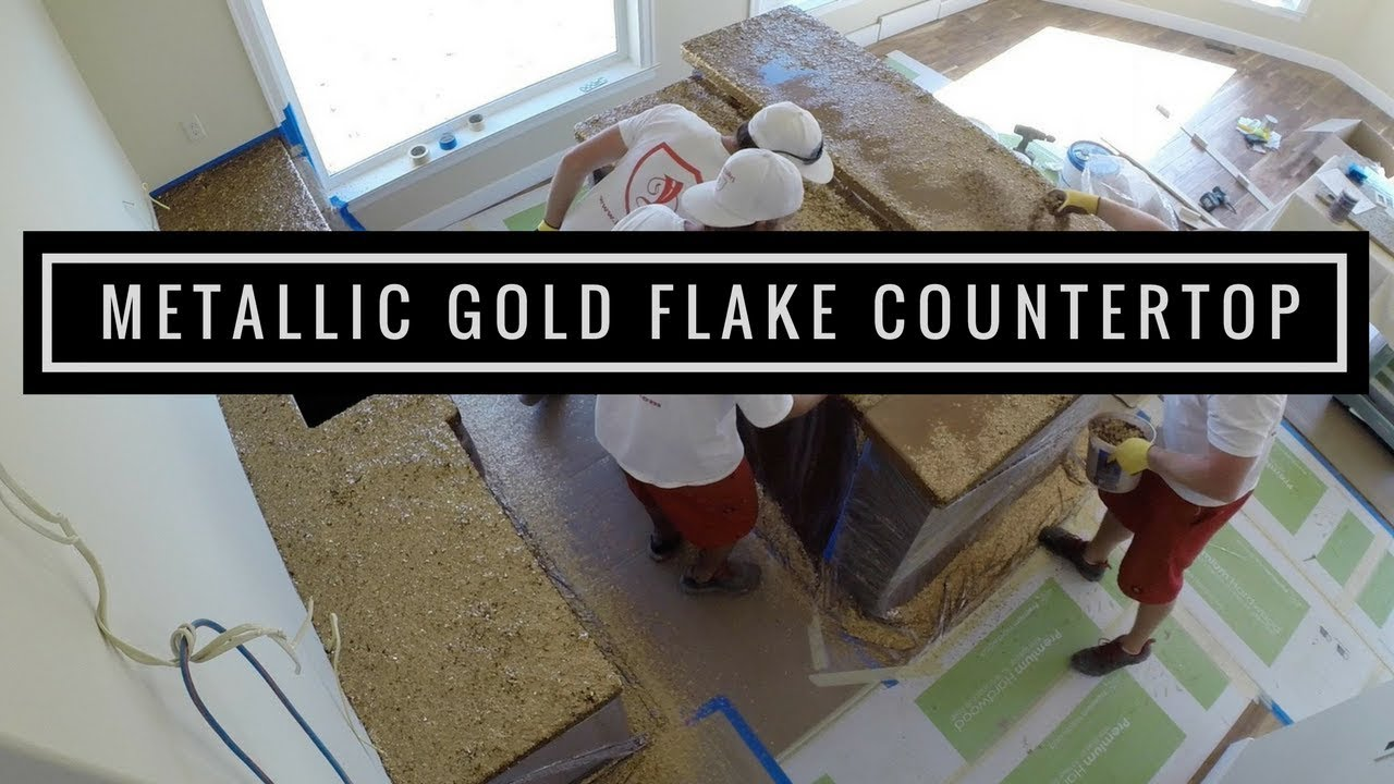 Countertop Paint Flakes : Countertop coating with Gold Metallic Flakes using Leggari Products ...
