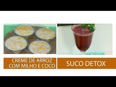 CREME DE ARROZ COM MILHO E LEITE DE COCO E SUCO DETOX