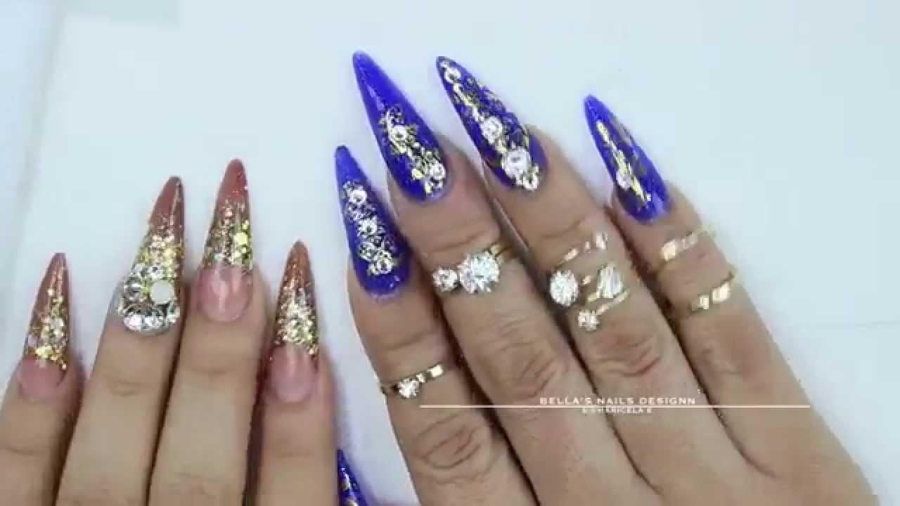 Nail set Royal Blue - Stilettos - YouTube