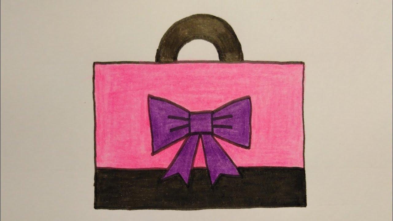 สอนวาดรูปกระเป๋าช็อปปิ้ง   Drawing a shoping bag Easy for beginer My Sky Channel.