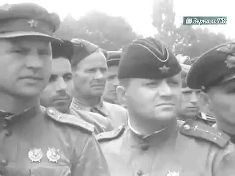 Публичная казнь фашистов на городской площади в Краснодаре , 18 июля 1943 г  Кинохроника