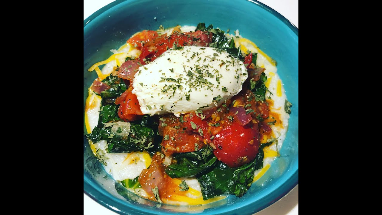 Poached Egg with Sautee'd Collard Greens, Tomato (Gravy) & White Cheddar Grits