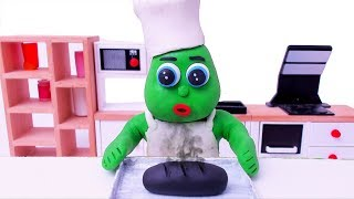Green Baby in BAKING BREAD - Stop Motion Cartoons For Kids