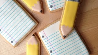Back To School! How To Decorate Pencil and Paper Cookies