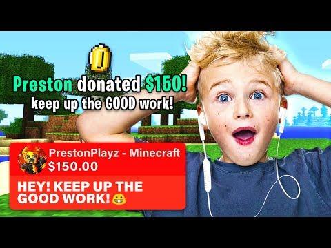 DONATING $$$ TO RANDOM MINECRAFT STREAMERS! *PrestonPlayz Gets EMOTIONAL*
