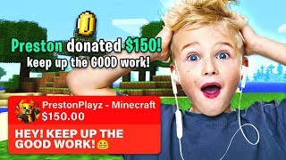 DONATING $$$ TO RANDOM MINECRAFT STREAMERS! *PrestonPlayz Gets EMOTIONAL*