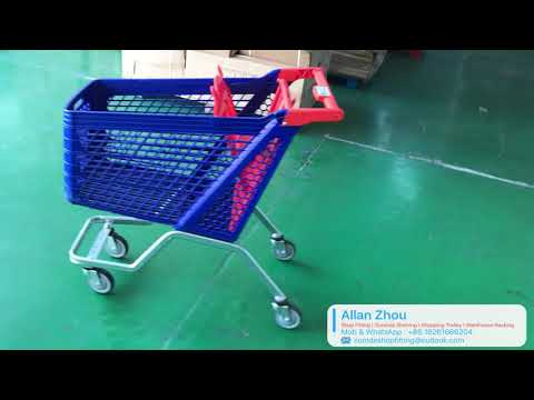 Metal Plastic Shopping Trolley Supermarket Equipment Shopping Cart For Shopping Mall