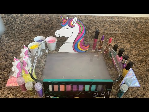 UNICORN THEME SERIES(MIXING CLAY MAKEUP GLITTER INTO SLIME)#13