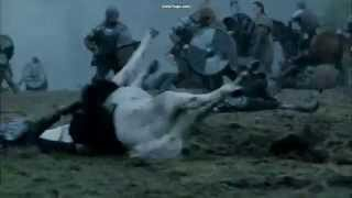 Vikings  Rollo Starts Taking out horses before he is wounded in battle.