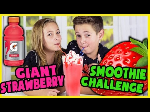 GIANT EXTREME STRAWBERRY SMOOTHIE CHALLENGE!