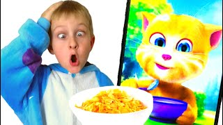 Tawaki kids eat and play with a funny talking cat Tom