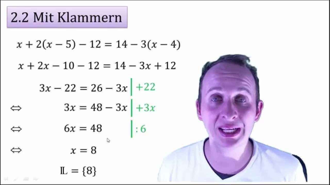 2.2 Gleichungen mit Klammern lösen - YouTube