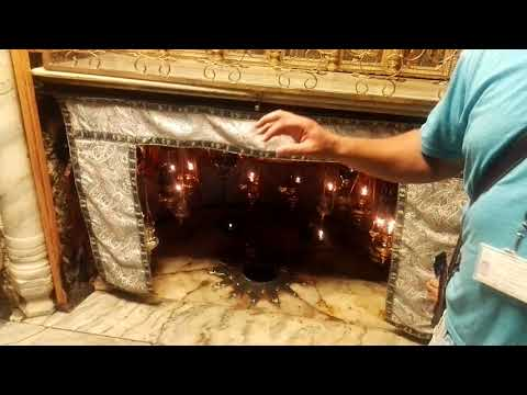 Right here Jesus was born. Church of the Nativity, Bethlehem. Tour Guide: George Saadeh